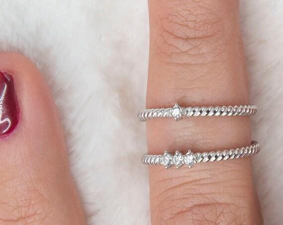 Diamond Ring, Twisted Diamond, Engagement Ring, Promise Ring, Real Diamond Ring, Twist Ring, Gold Stacking Ring, Rope Ring, 14k Gold Ring