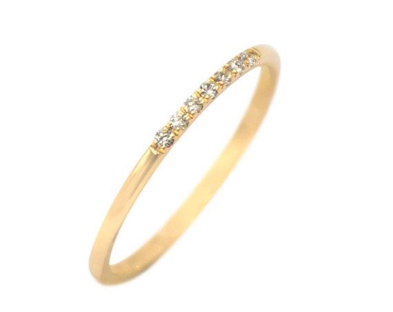 Diamond Ring, Diamond Wedding Band, Engagement Ring, Thin Wedding Band, 14k Gold Diamond Band, 7 Stone Diamond Ring, 1mm Band Ring