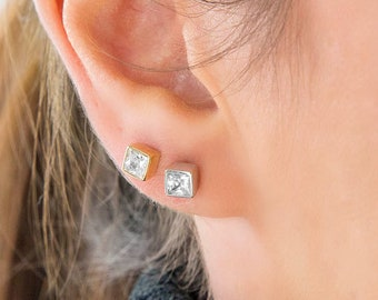 Gold Stud Earrings, Square Stud Earrings, Princess Cut Earrings, Solitaire Earrings, Minimalist 14K Gold Studs, Gold Post earrings