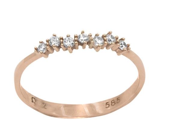 Rose Gold Diamond Wedding Band / Rose Gold Wedding Band / Rose Gold Stacking Diamond Ring / Dainty Rose Gold Diamond Ring / Graduation Gift