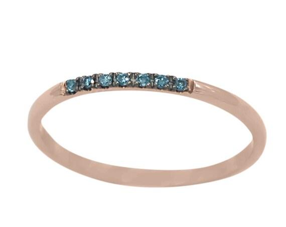 Diamond Wedding Band, Blue Diamond Ring, Engagement Ring, Thin Wedding Ring, Diamond Rings, Diamond Band, 7 Diamonds Band, 1 mm Ring