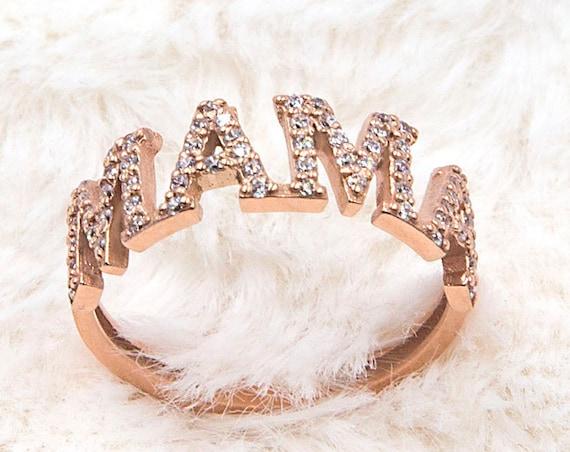 Gold Mama Ring, Script Mama Ring, Mothers Ring, Mama Word Ring, Gemstone Ring, Mothers Gift, Solid Gold 14 Karats, Mama Jewelry