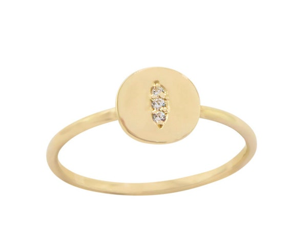 Diamond Disc Ring, Gold Circle Ring, Coin Ring, Circle Disc Ring, Diamond Ring, Engagement Ring, Dainty Diamond Ring, Thin Circle Ring