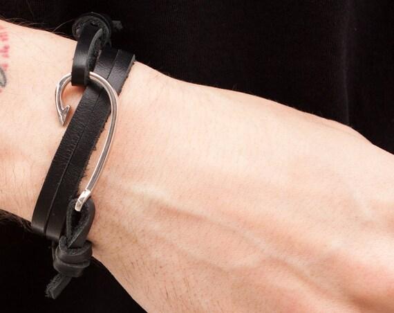 Fish Hook Bracelet, Silver Nautical Charm, Double Wrap Bracelet, Men's Bracelet, Nautical Hook Bracelet, Black Leather Bracelet