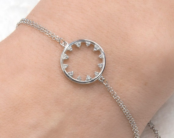 Gold Circle Bracelet, Ring Bracelet, Gold Chain Bracelet, Eternity Bracelet, Gemstone Circle Charm, Wedding Bracelet, Carma Bracelet