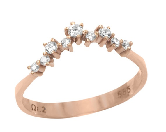 Curved Diamond Ring, Diamond Cluster Ring, Cluster Ring, Wedding Ring, Diamond Engagement Ring,  Rose Gold Ring, Gold Cluster Ring