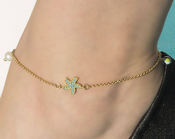 Silver Starfish Anklet, Sideways Starfish, Evil-eye Anklet, Starfish Charm, Turquoise Starfish, Foot Jewelry, Beach Jewelry, Summer Anklet