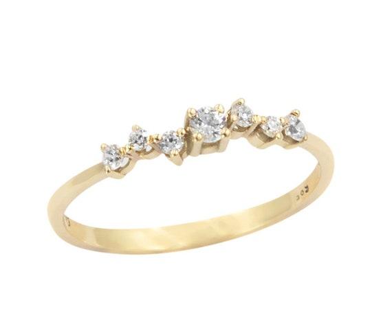 Diamond Cluster Ring, Diamond Ring, Cluster Ring, Wedding Ring, Engagement Ring, Tiny Cluster Ring, Rose Gold Ring, Gold Cluster Ring