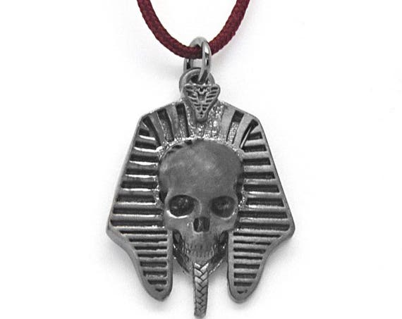 Scull Necklace, Egypt Scull Charm, Egyptian Scull, Pharaoh Head Charm, Egyptian Jewelry, Ancient Egypt Charm, Mens Necklace, Biker Pendant