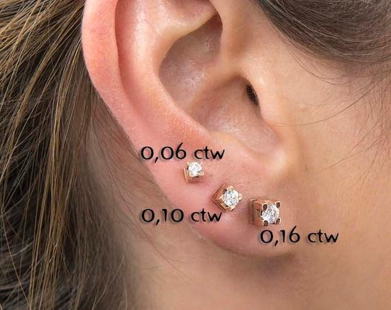 Diamond Stud Earrings, Diamond Earrings, Diamond Solitaire Earrings, Minimalist 14K Gold Diamond Studs, Gold post Earrings, Gift for her
