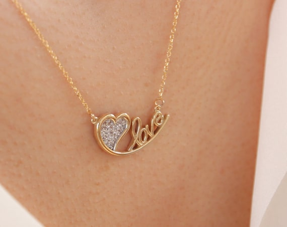 Love Necklace, Gold Love Necklace, Letter Love Necklace, Love Script Necklace, Heart Necklace, Cursive Writing Love Necklace, Love Jewelry