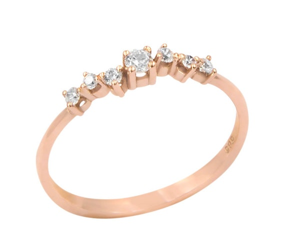 Cluster Ring, 7 Stone Ring, Gold Stacking Ring, Thin Gold ring, Gold Ring, Tiny Cluster Ring, Rose Gold Ring, Gold Cluster Ring, Cz Ring