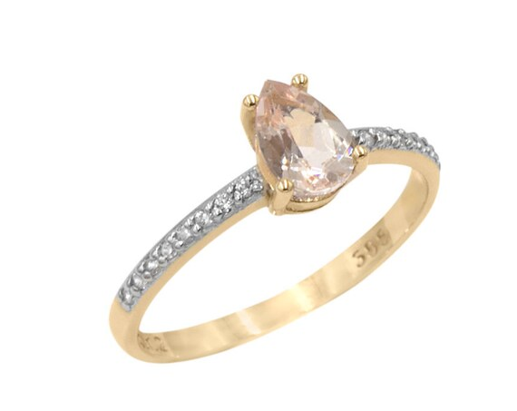 Morganite Ring, Pear Engagement Ring, Engagement Ring, Pear cut Ring, Teardrop Ring, Morganite Engagement Ring, Gemstone Ring, Wedding Ring