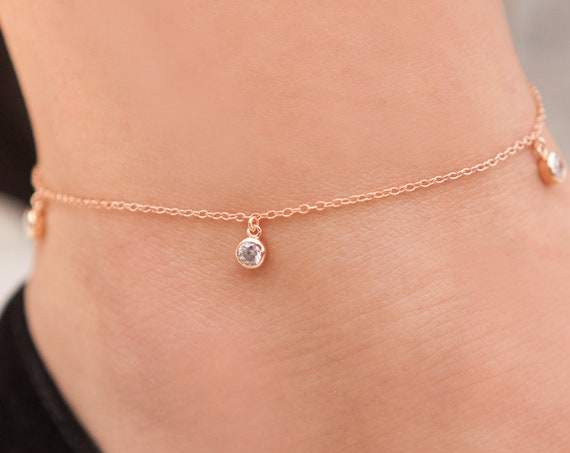 Silver Anklet, Gemstones Anklet, Anklet Bracelet, Silver Hanging Cz, Silver White Cz Anklet, Foot Jewelry, Beach Jewelry, Beaded Anklet