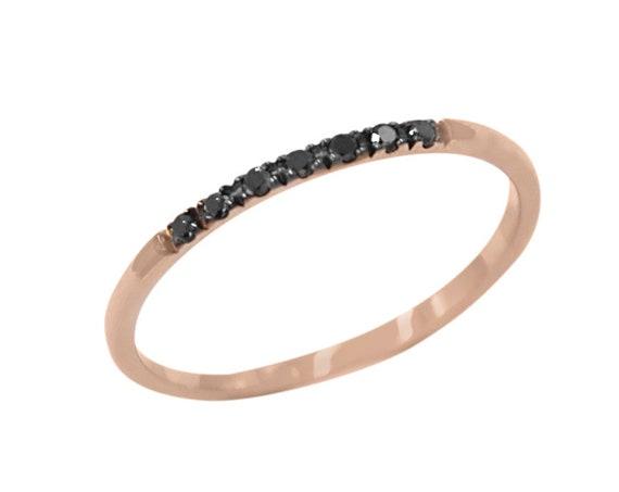 Diamonds Ring, 7 Black diamonds Ring, Engagement Ring, Diamond Wedding Band, Thin Wedding Ring, Diamond Ring, Diamond Band, 7 Diamonds Band