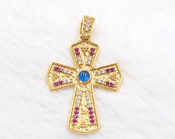 Gold Cross Necklace, Vintage Gold Cross, Christian Cross, Gold Christian Pendant, Byzantine Gold Cross, Cross Pendant, Cross Charm Necklace