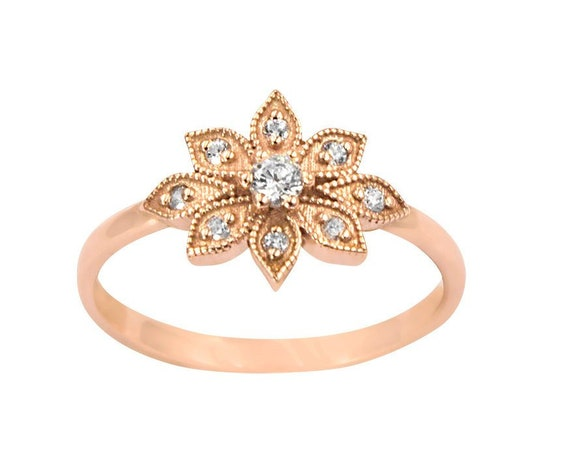 Diamond Daisy Ring, Diamond Flower Ring, Flower Ring, Vintage Diamond Ring, Diamond Wedding Ring, Rose Gold Ring, Gold Stacking Ring