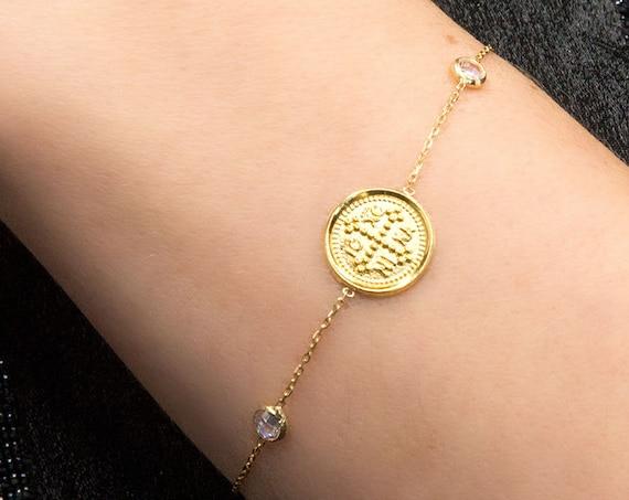 Christian Bracelet, Greek Christian Bracelet, Solid Gold 14k Cross Bracelet, Coin Charm, Byzantine Cross, Orthodox Gold Coin Bracelet