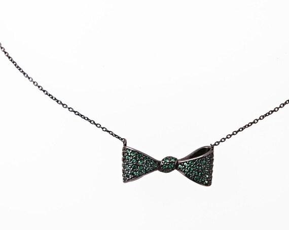 Bow necklace, Silver Bow Necklace, Rhinestone Bow, Silver Bow, Tie Ribbon Necklace, Bridesmaid Necklace, Bow Charm, Gemstone Bow,Bow Jewelry