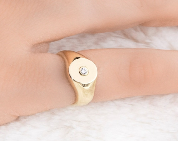Diamond Signet Ring, Pinky Signet Ring, Bezel Pinky Ring, Circle Rose Gold Ring, Bezel Setting Diamond Signet Ring, Coin Pinky Ring