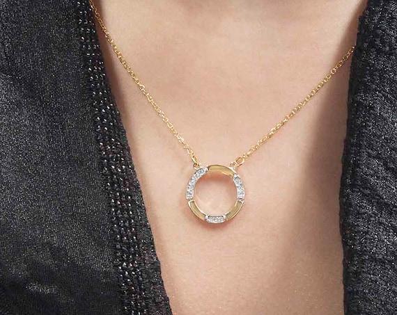 Gold Circle Necklace, Circle of Life Charm, Karma Necklace, Eternity Necklace, Cz Halo Necklace, Wedding Necklace, Halo Necklace