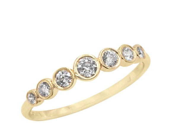 Diamond Gold Ring, Wedding Ring, Engagement Ring, Gold Stacking Ring, Half Eternity Ring, Black Diamond Ring, Diamond Ring, 7stone Gold Ring