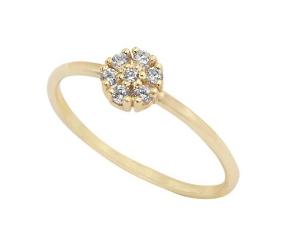 Gold Flower Ring, Flower Ring, Wedding Ring, Engagement Ring,  Rose Gold Ring, Gold Stacking Ring, Floral Ring, Gold Cz Ring, Gemstone Ring