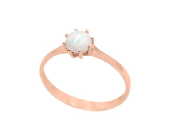White Opal Ring, Gold Opal Ring, Fire Opal Ring, Circle Opal ring, Australian Opal Ring, Opal Engagement Ring, Solitaire Opal Ring