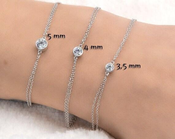 Gold Solitaire Bracelet/ Bezel Solitaire Bracelet/ Floating Bracelet/ 14k Gold Single Bezel Set Bracelet/Dainty Bracelet/ Double Chain Bezel