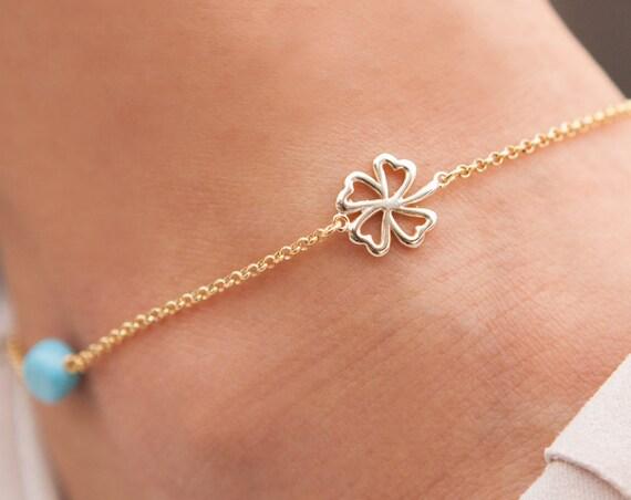 Silver Anklet, 4 Leaf Clover Anklet,  Anklet Bracelet, Sideways 4 leaf Clover, Evil-eye Anklet, Silver Irish Anklet, Foot Jewelry, Anklet