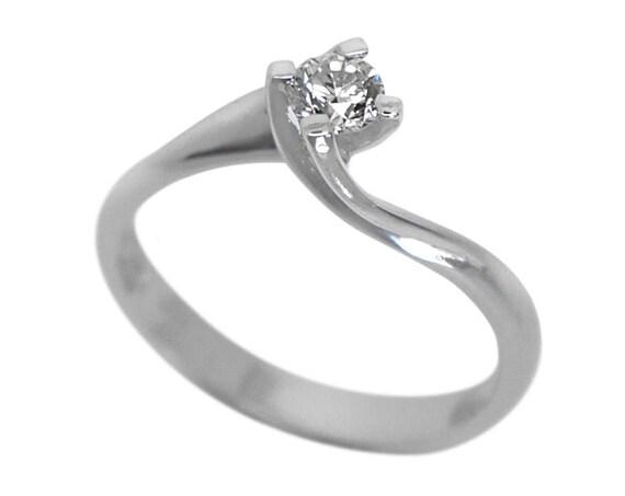 Single Diamond Ring, Diamond Solitaire Ring, Engagement Ring, Promise Ring, Solitaire Ring, 18 karats White Gold, Genuine Diamond 0.25ct