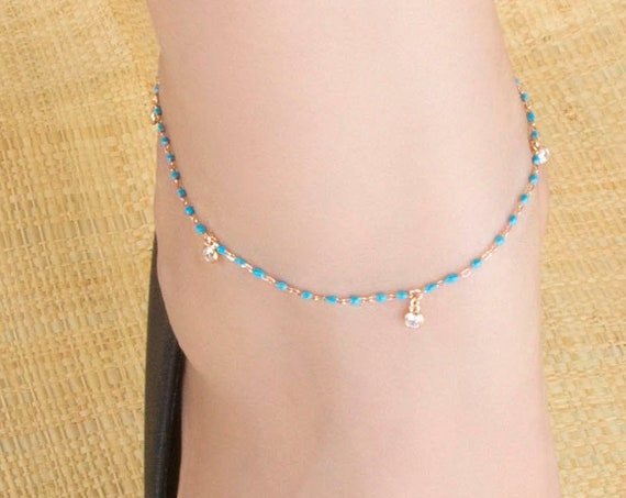 Silver Anklet, Gemstones Anklet, Anklet Bracelet, Silver Hanging Cz, Silver White Cz Anklet, Foot Jewelry, Beach Jewelry, Enamel Anklet