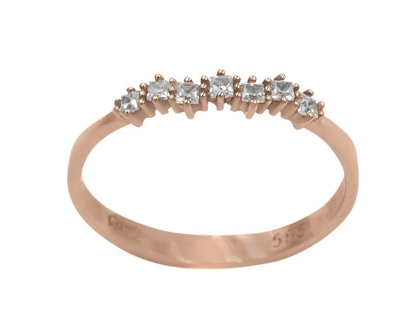 Diamond Cluster Ring, Curved Diamond Ring, Rose Gold Diamond Ring, Cluster Ring, Diamonds Ring, Wedding Ring, Engagement Ring, Princess Cut