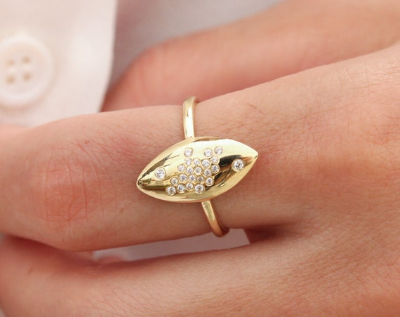 Gold Pointed Ring, Gold Long Ring, Gemstone Ring, Marquise shaped Ring, Marquise Cz Ring, 14karats Solid Gold Ring, Sharp Ring, Edged Ring