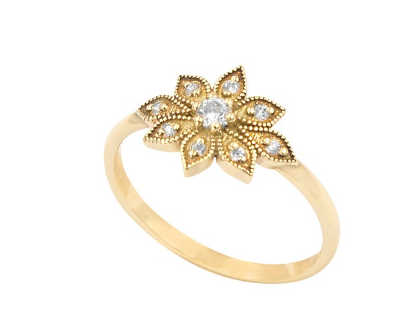 Daisy Ring, Gold Flower Ring, Gemstone Ring, Flower Ring, Vintage Flower Ring, Wedding Ring, Rose Gold Ring, Gold Stacking Ring, Floral Ring
