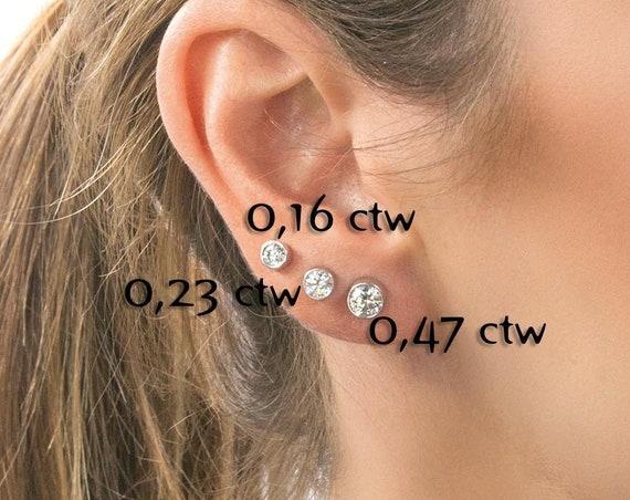 Diamond Stud Earrings, Diamond Earrings, Diamond Solitaire Earrings, Minimalist 14K Gold Diamond Studs, Gift for her, Diamond Post Earrings
