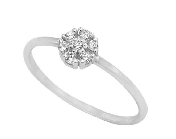Diamond Ring, Diamond Flower Ring, Flower Ring, Wedding Ring, Diamond Engagement Ring,  Rose Gold Ring, Diamond Stacking Ring, Floral Ring