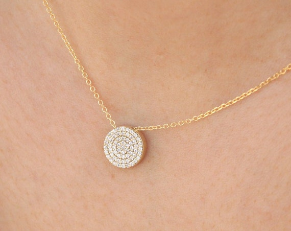Disc Necklace, Diamond Disc Necklace, Gold Disc Necklace, Circle Diamond Necklace, Diamond Necklace, Gold Disc with Diamonds, Disc pendant
