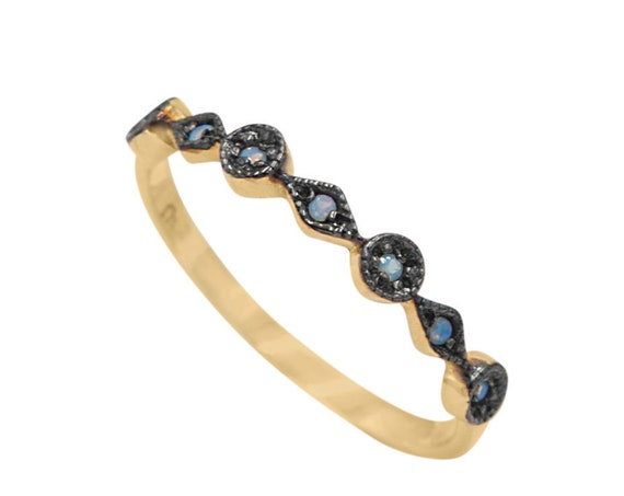 Opal Ring Milgrain Bead & Eye 14K Gold Half Eternity Unique Wedding Ring Stacking Rings Vintage Inspired Stackable Art Deco