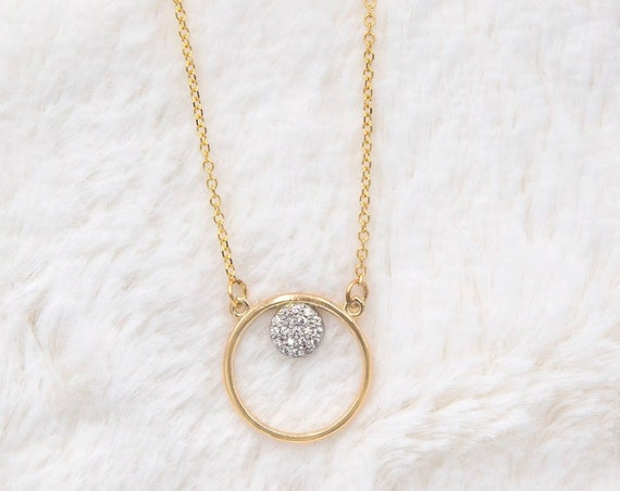 Ring Necklace, Halo Necklace, Gold Circle Necklace, Circle of Life Charm, Karma Necklace, Eternity Necklace, Two Circles Necklace