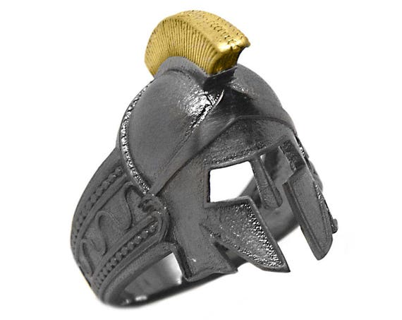 Helmet Ring, Spartan Helmet, Spartan Race, Spartan Ring, Ancient Helmet Jewelry, Spartan Jewelry, Mens Ring, Mens Jewelry