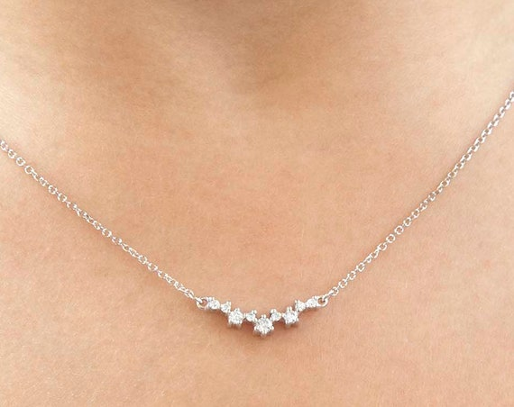 Curved Necklace, Cluster Necklace, Gold Cluster Necklace, Cluster Pendant, Wedding Necklace, Bridesmaid Necklace, Gemstone Necklace