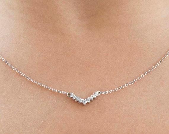 Diamonds Necklace, Cluster Necklace, Gold Cluster Necklace, Chevron Pendant, Wedding Necklace, Bridesmaid Necklace, Diamond Cluster Necklace