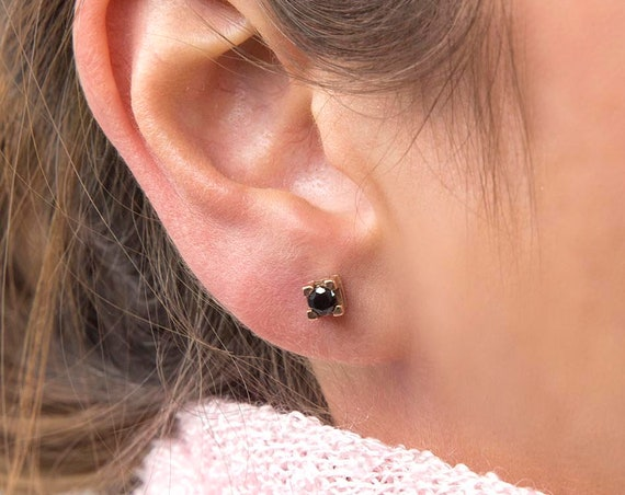 Gold Stud Earrings, Square Stud Earrings, Gemstone Earrings, Solitaire Earrings, Minimalist 14K Gold Studs, Tiny Prong, Gold Post Earrings