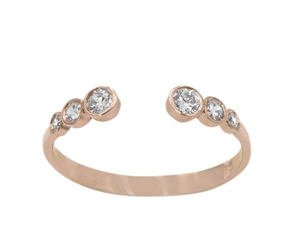 Open Diamond Ring, Diamonds Ring, Wedding Ring, Engagement Ring, Cuff Ring, Stackable Ring, Diamond Open Ring, Gold Open Ring, 6 Stone Ring