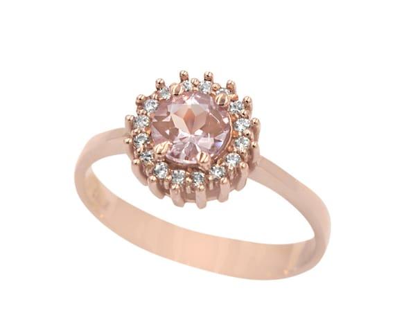 Morganite Ring, Round Engagement Ring, Engagement Ring, Morganite Halo Ring, Rose Gold Ring, Diamond Ring, Wedding Ring, Pink Morganite Ring