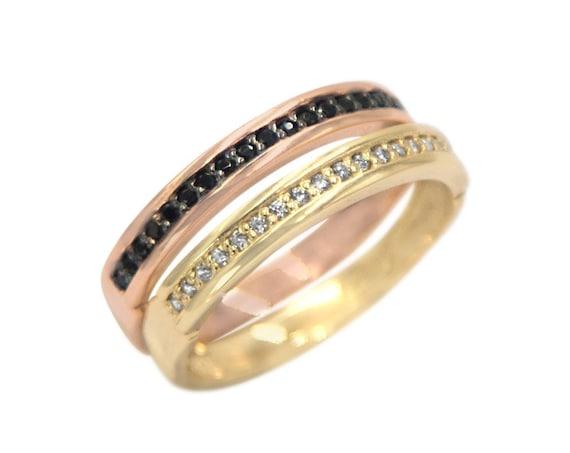 Diamond Eternity Ring / 14k Gold Half Eternity Diamond Ring / Half Around Diamond Wedding Band / White Diamonds Ring / Black Diamonds Ring
