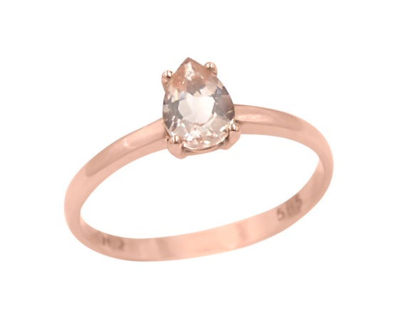 Morganite Ring, Pear Engagement Ring, Pear cut Ring, Teardrop Ring, Wedding Ring, Solitaire Ring, Dainty Gold Ring