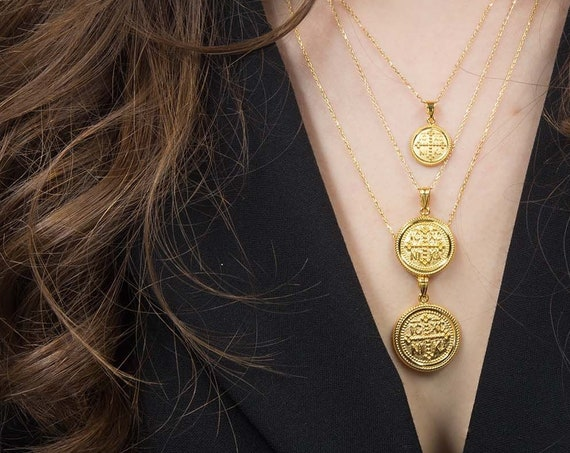 Christian Necklace, Greek Christian Necklace, Solid Gold 14k Coin, Byzantine Cross pendant, Orthodox Coin Necklace, Gold Double Sided Charm
