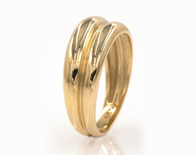 Double Dome Ring, Linked Ring, Wedding Band, 14k Solid Gold, Two Different Wide Dome Rings, Linked Gold Shiny Bands, Gold Dome Ring